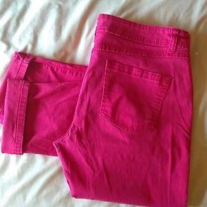 I.NC pink skinny leg jeans size 16